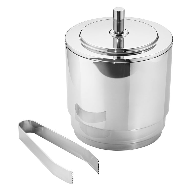 Manhattan Ice Bucket & Tong in Stainless Steel by Georg Jensen For Sale