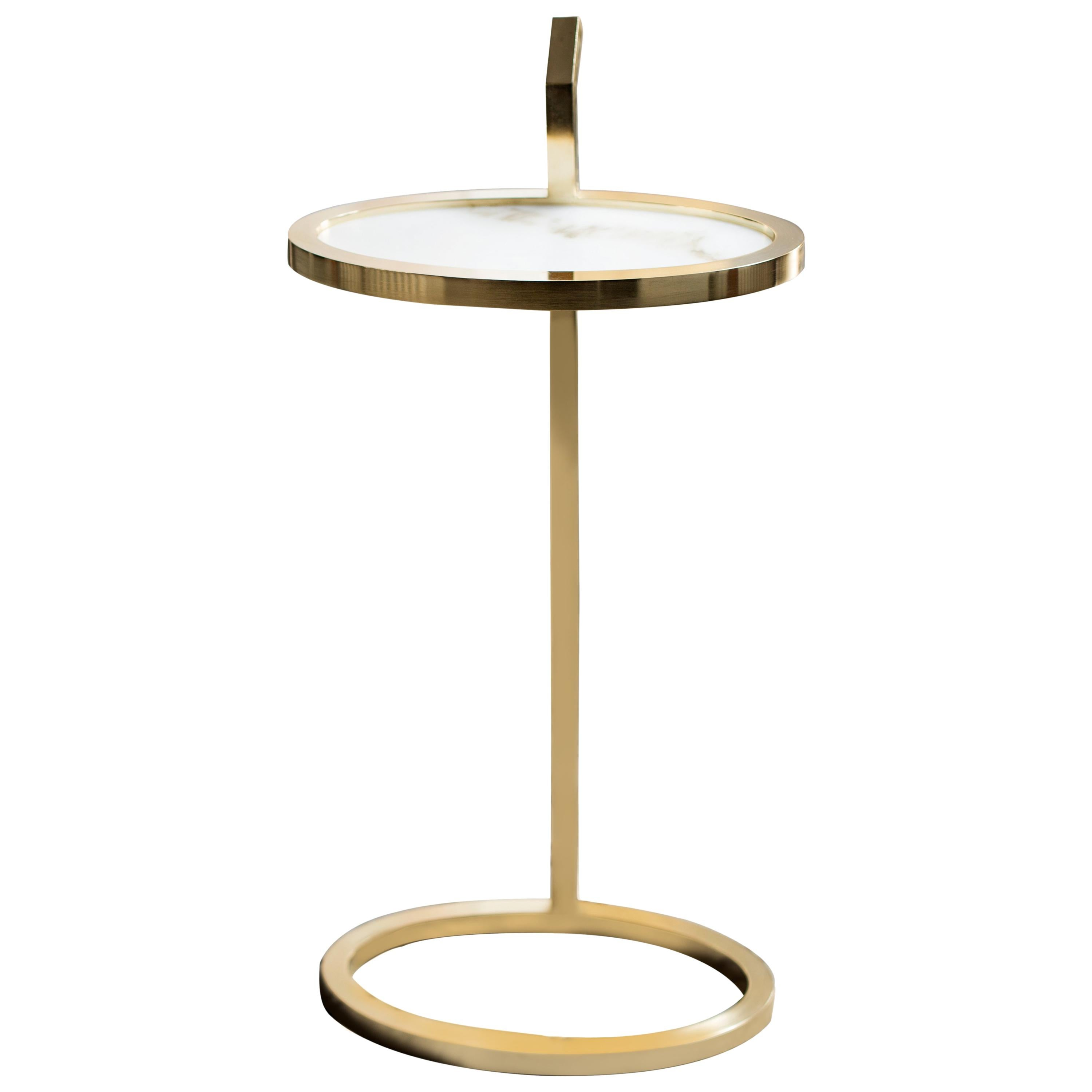 Manhattan Martini Table in Polished Brass Tinted Finish and Marblo Surface