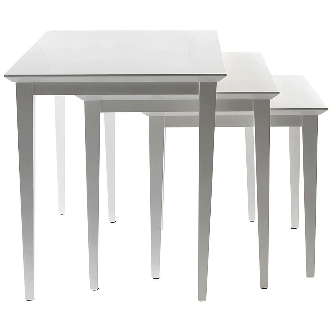 Manhattan Nesting Tables with White Lacquer Finish