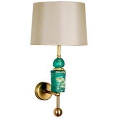 Manhattan Wall Light in Emerald and Brass by Margit Wittig