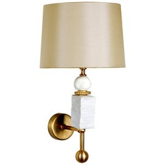 Modern European Manhattan Wall Light in White with Brass by Margit Wittig