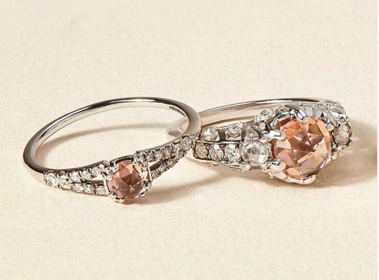 Contemporary Maniamania Ceremonial Engagement Ring in 14k Gold with Pink Tourmaline & Diamond For Sale