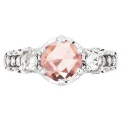 Maniamania Ceremonial Engagement Ring in 14k Gold with Pink Tourmaline & Diamond