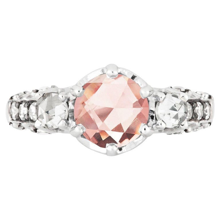Maniamania Ceremonial Engagement Ring in 14k Gold with Pink Tourmaline & Diamond For Sale