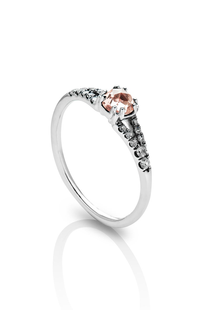 MANIAMANIA Devotion Engagement ring 14k White Gold with a 4.8mm round rose cut Peachy Pink Tourmaline center stone, with pavé of white diamonds (0.15-0.18 ctw). Size 5.5.  Hand made in New York, this Devotion ring is antique inspired in its design