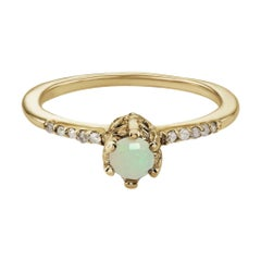 Maniamania Entity Engagement Ring in 14 Karat Gold with Opal and Diamonds