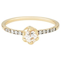 Maniamania Entity Engagement Ring in 14k Gold with Old Euro Diamond and Pave