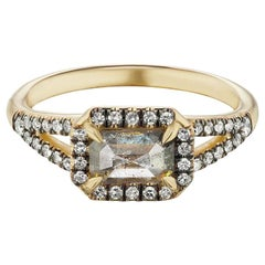 Maniamania Etherea Ring in 14k Gold with Rustic Grey Diamond and Diamond Pave