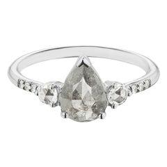 Maniamania Grand Radiance Ring 14 Karat Gold with Rose Cut Grey Diamond