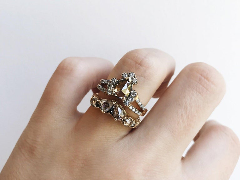 Contemporary Maniamania Ritual Engagement Ring in 14k Gold with Rose Cut Champagne Diamond For Sale