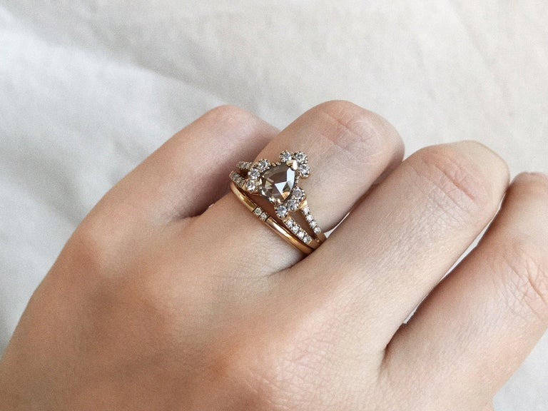 Women's Maniamania Ritual Engagement Ring in 14k Gold with Rose Cut Champagne Diamond For Sale