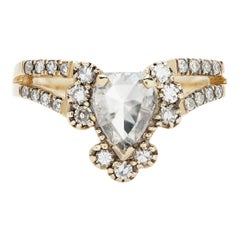 Maniamania Ritual Ring in 14k Yellow Gold with Rose Cut White Diamond