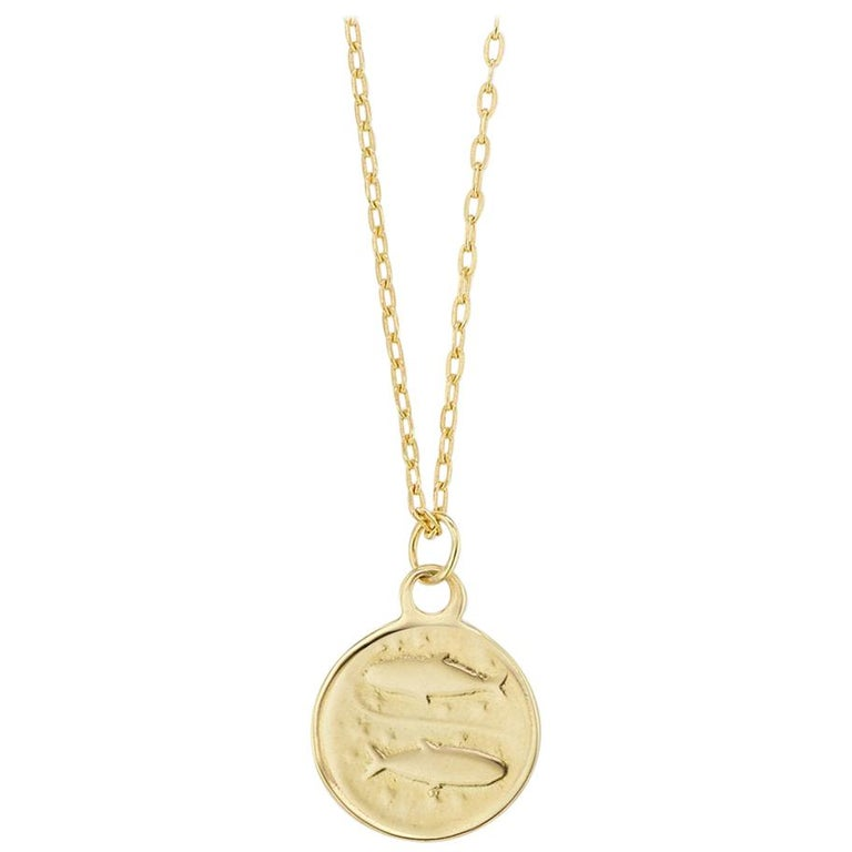 Maniamania Zodiac Pisces Coin Charm Pendant Necklace in 14 Karat Gold For Sale