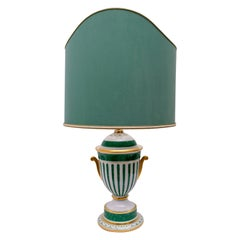 Manifattura Artistica Le Porcellane Italian Gold-Plated Table Lamp Hand Painted
