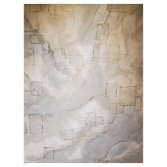 Manifestation, Abstract Mixed-Media Painting on Canvas, 2020, Gray, White