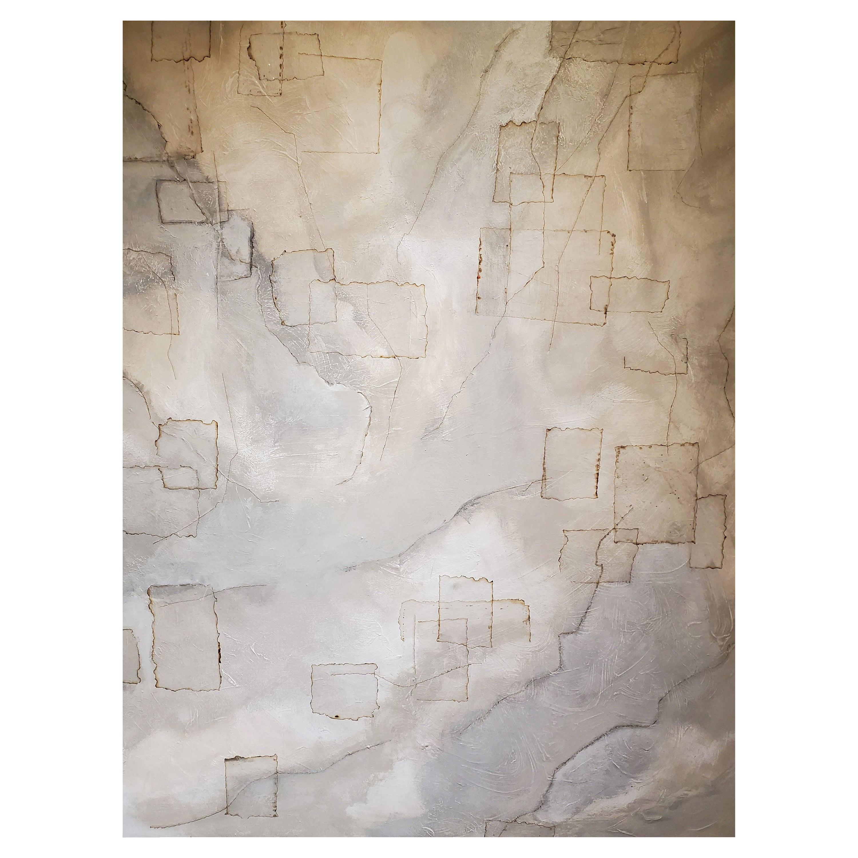 """""""Manifestation"""", Abstract Mixed-Media Painting on Canvas, 2020, Gray, White"""