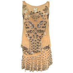 MANISH ARORA Size M Natural Applique Silk Shirt Dress