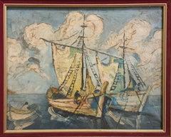Mid-Century Nautical Scene, Casting the Nets, Oil on Canvas.