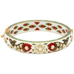 Enamel Uncut Diamond 22 Karat Gold Bangle Bracelet