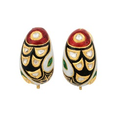 Enamel Uncut Diamond 22 Karat Gold Earrings