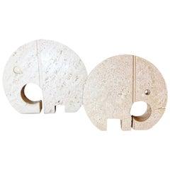 Mannelli F.Lli Travertine Ornaments Big and Small Elephant Minimalist Style