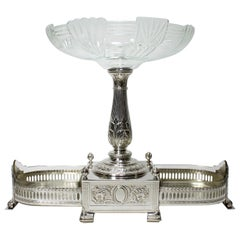 Manner of Christofle 19th-20th Century Silver-Plated & Crystal Fruit Centerpiece