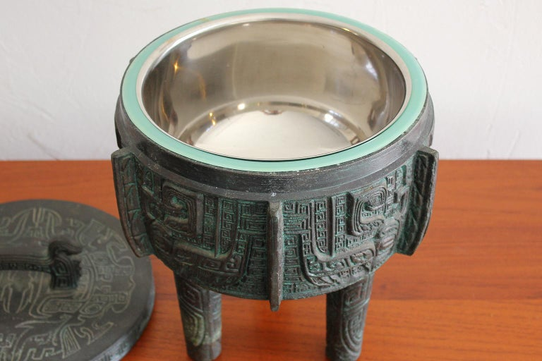 Manner of James Mont Asian Chinese Verdigris Design Bar Cocktail Ice Bucket For Sale 1
