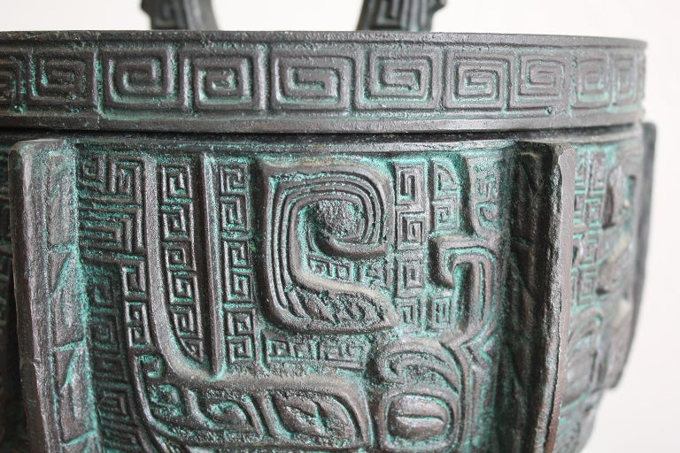 Manner of James Mont Asian Chinese Verdigris Design Bar Cocktail Ice Bucket For Sale 3