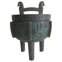 Manner of James Mont Asian Chinese Verdigris Design Bar Cocktail Ice Bucket