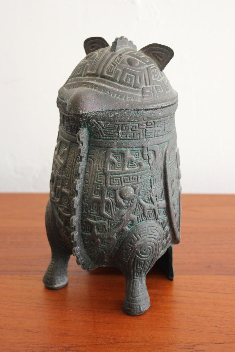 Manner of James Mont Asian Chinese Verdigris Design Water Pitcher In Excellent Condition For Sale In San Diego, CA