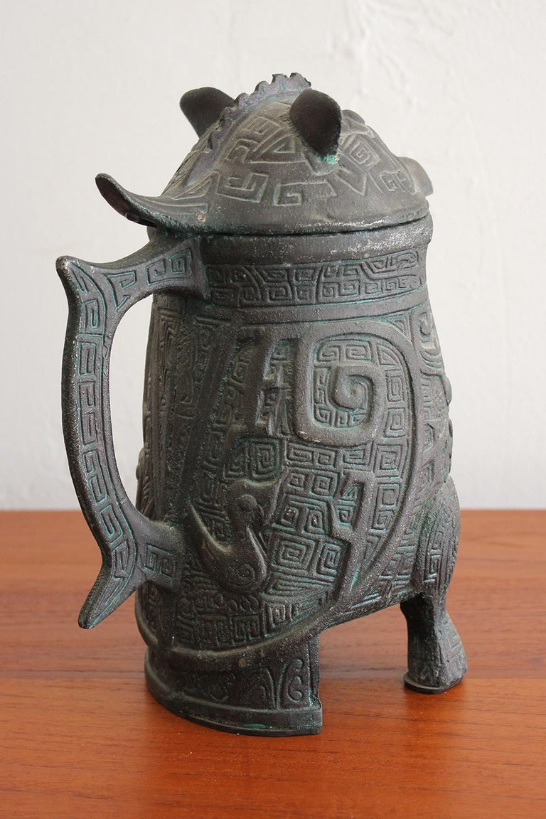20th Century Manner of James Mont Asian Chinese Verdigris Design Water Pitcher For Sale