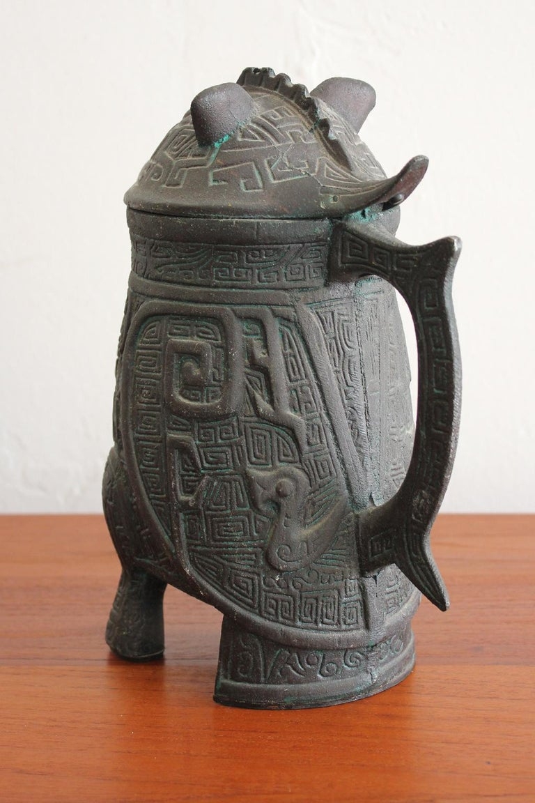 Copper Manner of James Mont Asian Chinese Verdigris Design Water Pitcher For Sale