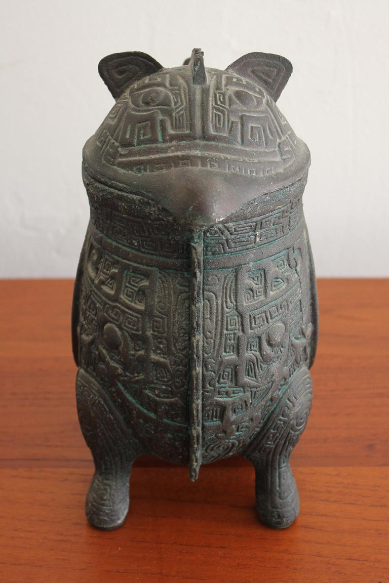 Manner of James Mont Asian Chinese Verdigris Design Water Pitcher For Sale 1