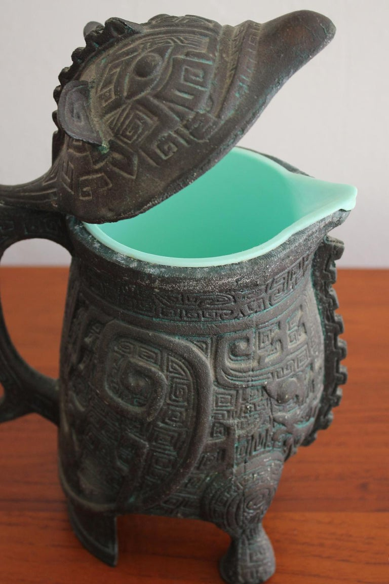 Manner of James Mont Asian Chinese Verdigris Design Water Pitcher For Sale 2