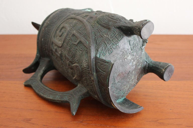 Manner of James Mont Asian Chinese Verdigris Design Water Pitcher For Sale 3