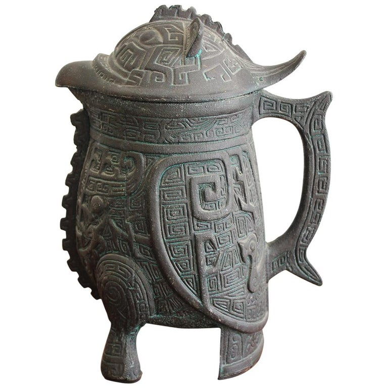 Manner of James Mont Asian Chinese Verdigris Design Water Pitcher For Sale
