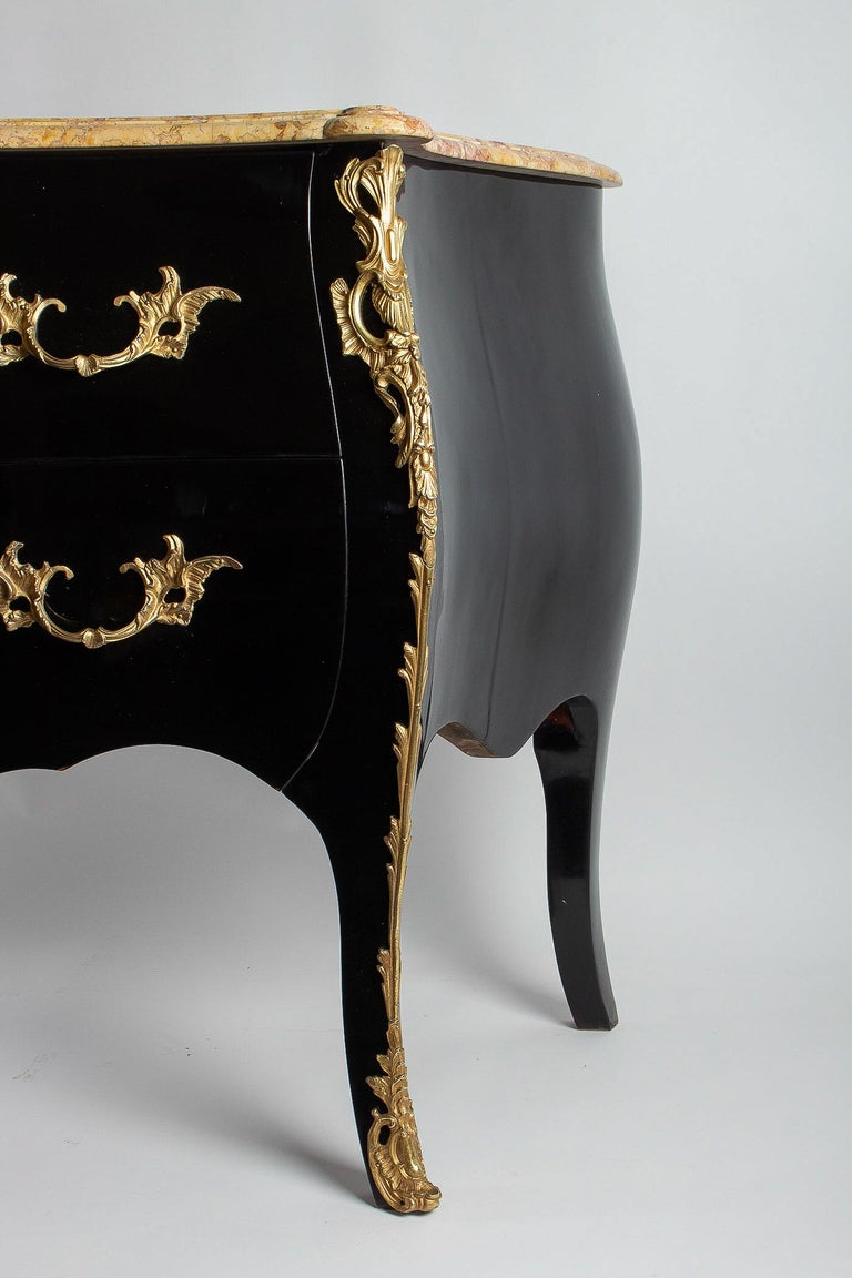 Manner of Jansen French Louis XV Style Black-Lacquered Commode, circa 1950 For Sale 6