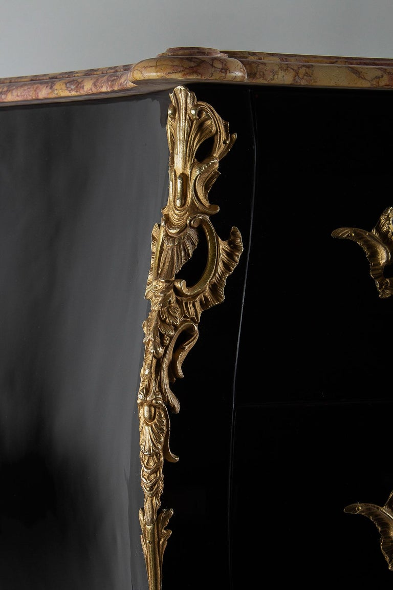 Mid-20th Century Manner of Jansen French Louis XV Style Black-Lacquered Commode, circa 1950 For Sale