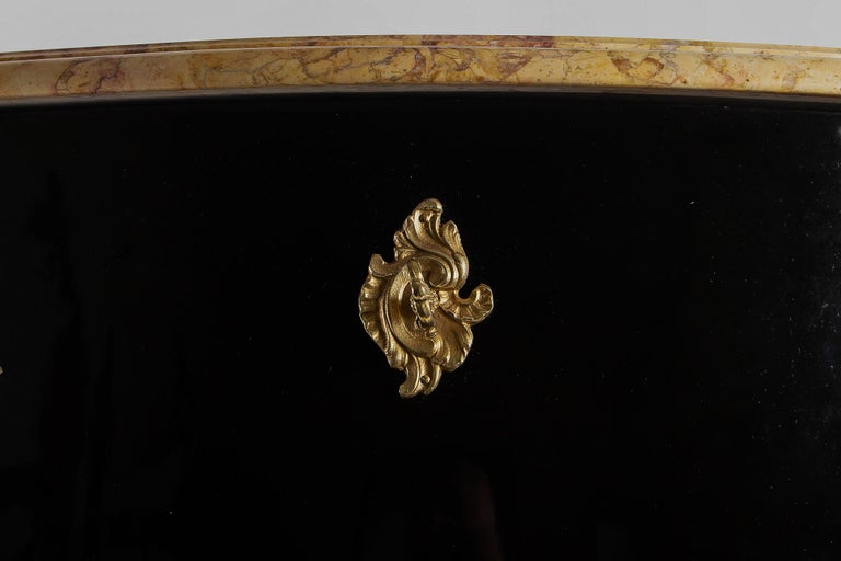 Manner of Jansen French Louis XV Style Black-Lacquered Commode, circa 1950 For Sale 3