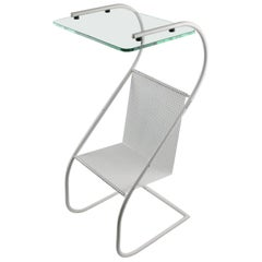 Manner of Mathieu Mategot Modernist White Metal Side Table and Magazine Rack