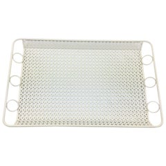 Mathieu Mategot Style Perforated White Metal Barware Serving Tray
