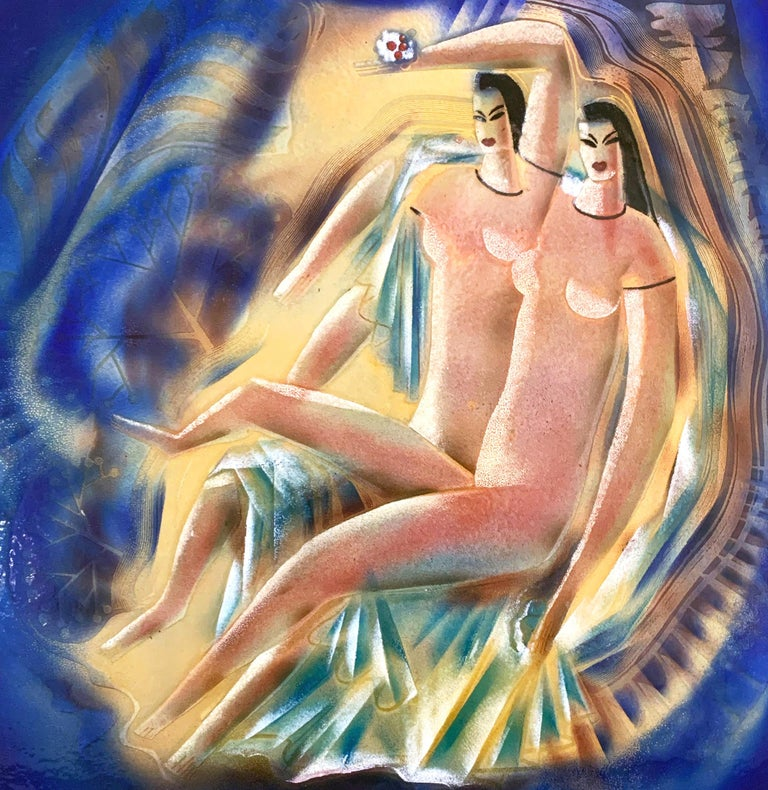 Created by the greatest master of enamel painting in America's Art Deco period -- Edward Winter -- this large and spectacular panel features two female nude figures, impossibly elongated in the modern Mannerist manner, all executed in rich,