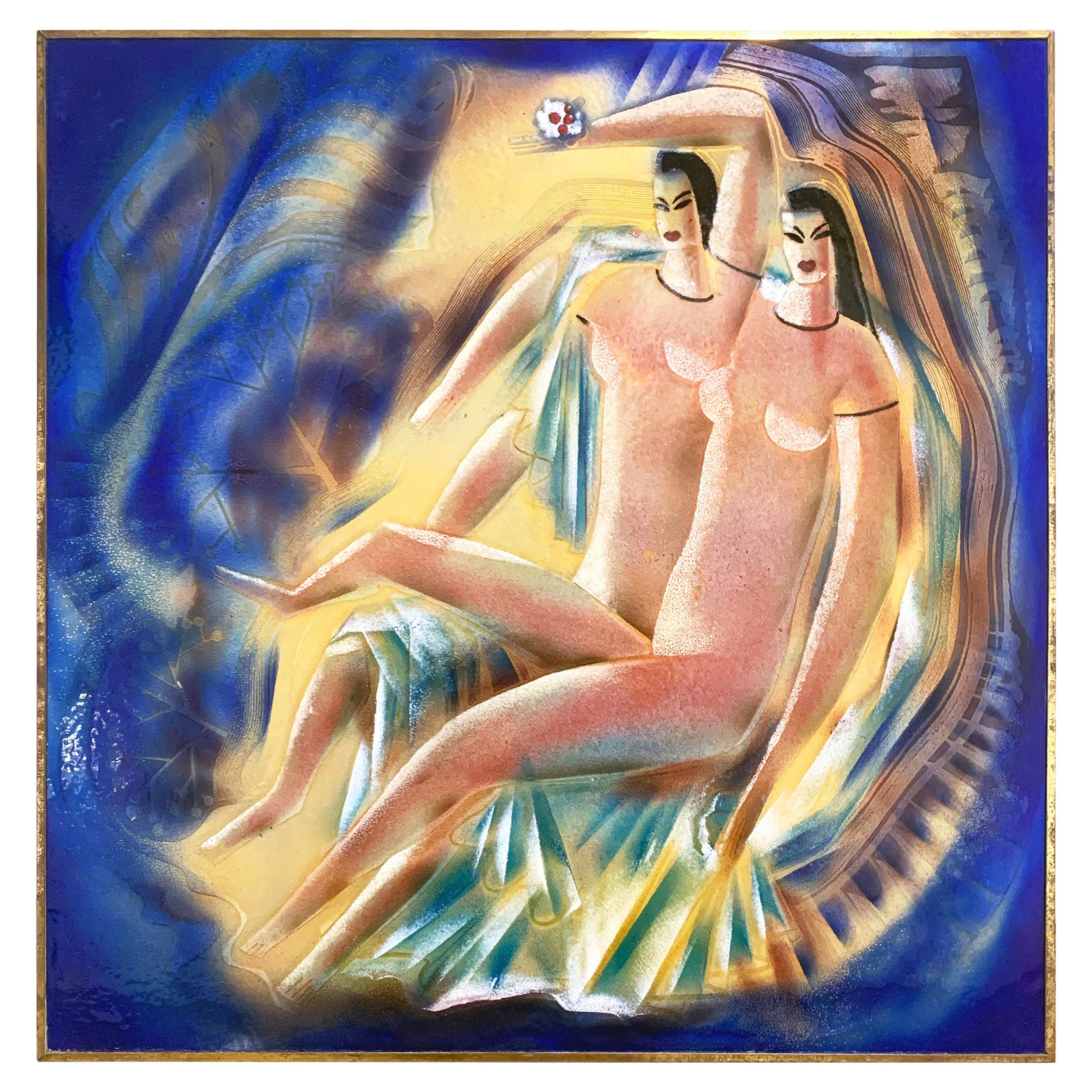 """""""Mannerist Nudes,"""" Spectacular Art Deco Enamel with Female Nudes in Blue & Gold"""