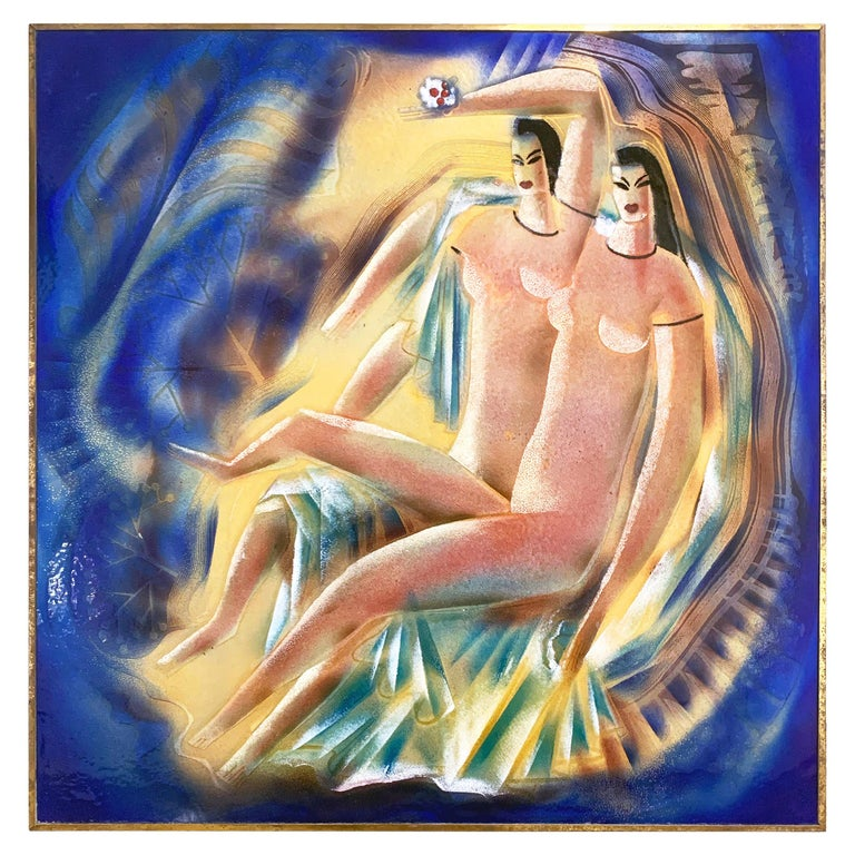 """Mannerist Nudes,"" Spectacular Art Deco Enamel with Female Nudes in Blue & Gold For Sale"