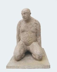 Kneeling Man - contemporary jesmonite earth pigments figurative male sculpture
