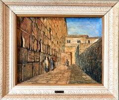 Vintage Jerusalem Western Wall Relief Sculpture Model Diorama Painting Judaica