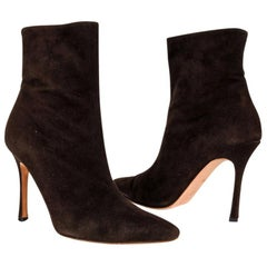 Manolo Blahnik Ankle Boot Buttery Soft Chocolate Suede 36.5  / 6.5