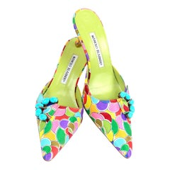 Manolo Blahnik Atomica Colorful Heeled Mules w/ Turquoise Buckle Size 36 1/2