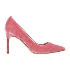 "MANOLO BLAHNIK ""BB"" 90mm Pink Velvet Pointed Toe Covered Heel Stiletto Pumps"