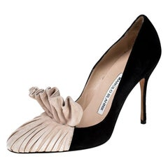 Manolo Blahnik Beige And Black Suede Arleti Frill Detail Pumps Size 37